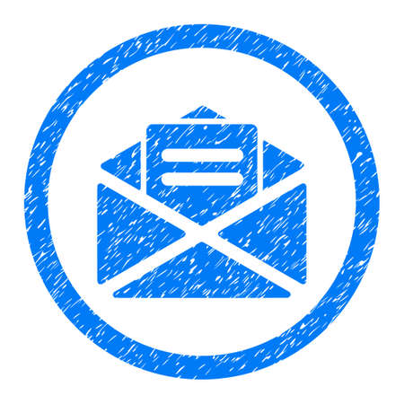 Rounded Open Mail rubber seal stamp watermark. Icon symbol inside circle with grunge design and dirty texture. Unclean glyph blue emblem. Stock Photo