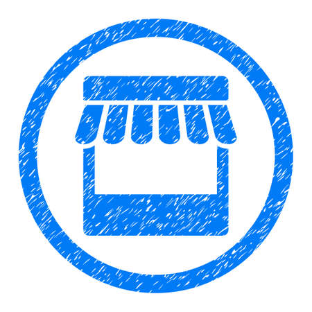 Rounded Store rubber seal stamp watermark. Icon symbol inside circle with grunge design and unclean texture. Unclean glyph blue sticker. Stock Photo