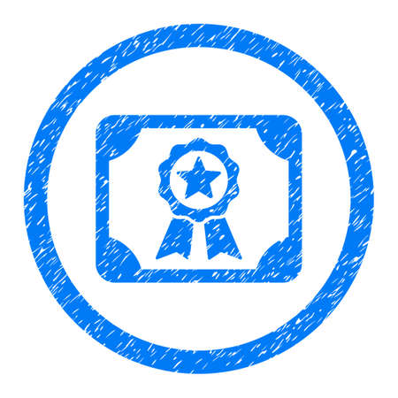 Rounded Certificate rubber seal stamp watermark. Icon symbol inside circle with grunge design and dirty texture. Unclean vector blue emblem.
