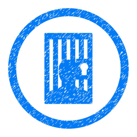 Rounded Closed Prisoner rubber seal stamp watermark. Icon symbol inside circle with grunge design and dirty texture. Unclean vector blue emblem. Illustration