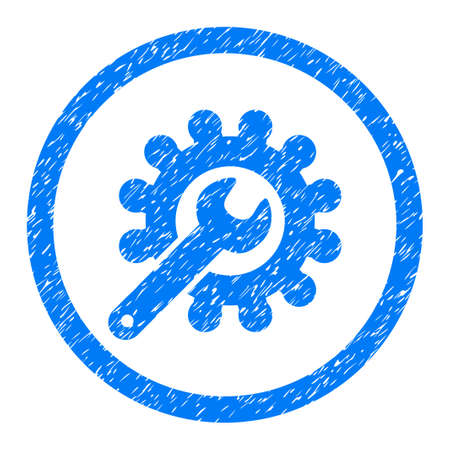 Rounded Customization rubber seal stamp watermark. Icon symbol inside circle with grunge design and dust texture. Unclean vector blue sticker. Illustration