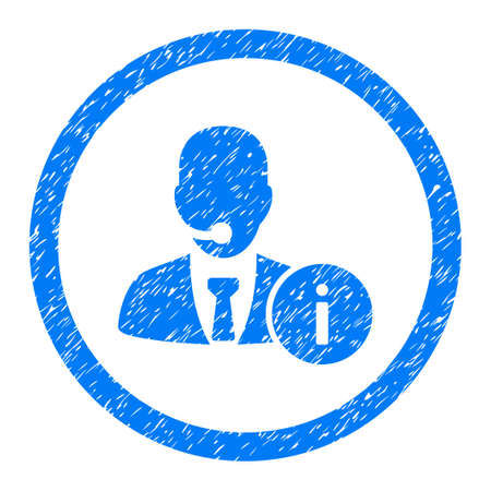 hotline: Rounded Help Desk Manager rubber seal stamp watermark. Icon symbol inside circle with grunge design and dust texture. Unclean vector blue emblem. Illustration