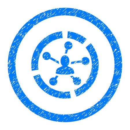 Rounded Relations Diagram rubber seal stamp watermark. Icon symbol inside circle with grunge design and scratched texture. Unclean vector blue emblem.