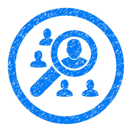 Rounded Search People rubber seal stamp watermark. Icon symbol inside circle with grunge design and dust texture. Unclean vector blue emblem.