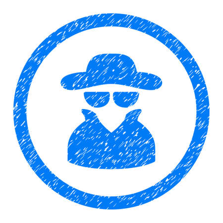 Rounded Spy rubber seal stamp watermark. Icon symbol inside circle with grunge design and unclean texture. Unclean vector blue sticker. Illustration