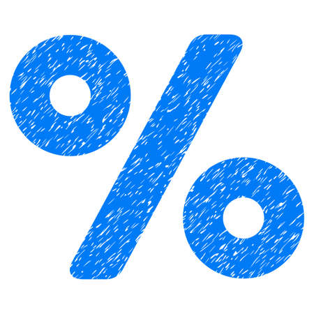 Percent grainy textured icon for overlay watermark stamps. Flat symbol with dust texture. Dotted glyph blue ink rubber seal stamp with grunge design on a white background.