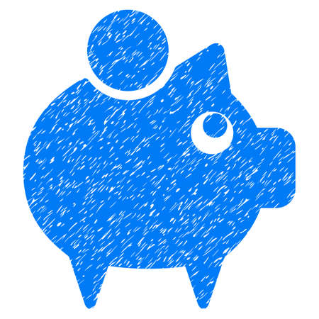 Piggy Bank grainy textured icon for overlay watermark stamps. Flat symbol with dirty texture. Dotted vector blue ink rubber seal stamp with grunge design on a white background.