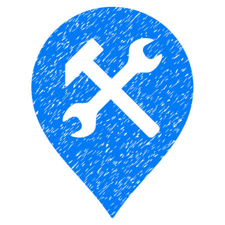 map toolkit: Workshop Map Marker grainy textured icon for overlay watermark stamps. Flat symbol with scratched texture. Dotted vector blue ink rubber seal stamp with grunge design on a white background.