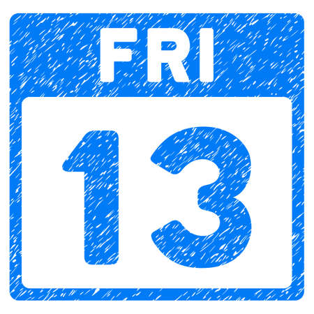 13 Friday Calendar Page grainy textured icon for overlay watermark stamps. Flat symbol with unclean texture. Dotted vector blue ink rubber seal stamp with grunge design on a white background.