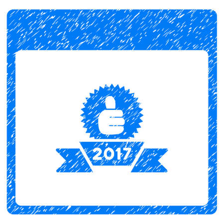 2017 Award Ribbon Calendar Page grainy textured icon for overlay watermark stamps. Flat symbol with dust texture. Dotted vector blue ink rubber seal stamp with grunge design on a white background. Illustration