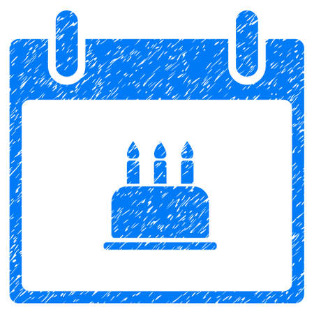 christmas cake: Birthday Cake Calendar Day grainy textured icon for overlay watermark stamps. Flat symbol with scratched texture. Dotted vector blue ink rubber seal stamp with grunge design on a white background.