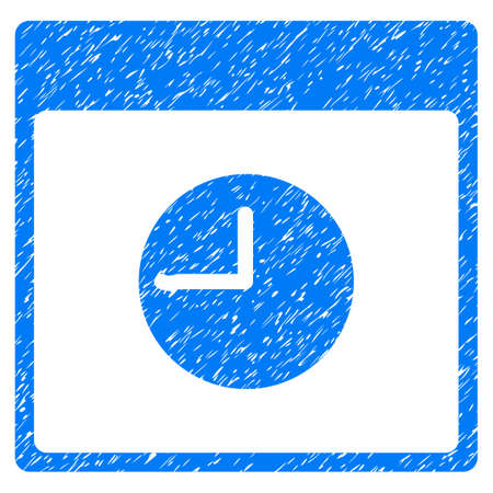 Clock Calendar Page grainy textured icon for overlay watermark stamps. Flat symbol with unclean texture. Dotted vector blue ink rubber seal stamp with grunge design on a white background.
