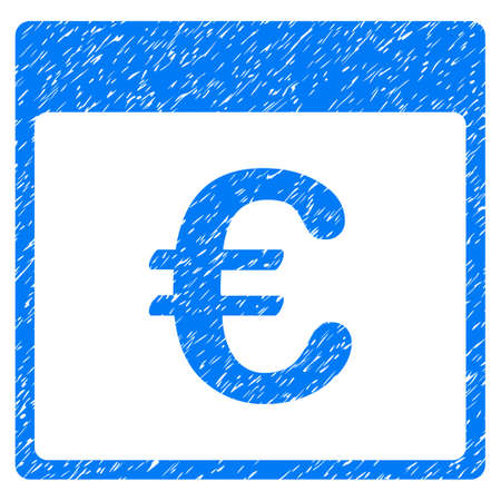 calender icon: Euro Currency Calendar Page grainy textured icon for overlay watermark stamps. Flat symbol with unclean texture. Dotted vector blue ink rubber seal stamp with grunge design on a white background.