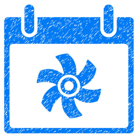 impeller: Fan Calendar Day grainy textured icon for overlay watermark stamps. Flat symbol with scratched texture. Dotted vector blue ink rubber seal stamp with grunge design on a white background. Illustration