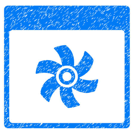 Fan Calendar Page grainy textured icon for overlay watermark stamps. Flat symbol with dirty texture. Dotted vector blue ink rubber seal stamp with grunge design on a white background.