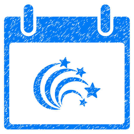 calender icon: Festive Fireworks Calendar Day grainy textured icon for overlay watermark stamps. Flat symbol with dust texture. Dotted vector blue ink rubber seal stamp with grunge design on a white background.