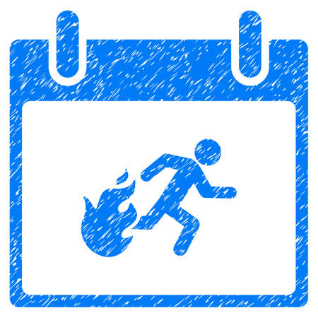 escape plan: Fire Evacuation Man Calendar Day grainy textured icon for overlay watermark stamps. Flat symbol with scratched texture.