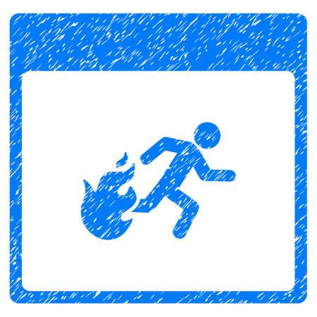 evacuacion: Fire Evacuation Man Calendar Page granulado icono de textura para sellos de marca de agua de superposición. Símbolo plano con textura sucia. Sello punteado del sello de goma de la tinta azul del vector con diseño del grunge en un fondo blanco. Vectores