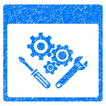 calender icon: Gear Tools Calendar Page grainy textured icon for overlay watermark stamps. Flat symbol with scratched texture. Dotted vector blue ink rubber seal stamp with grunge design on a white background.