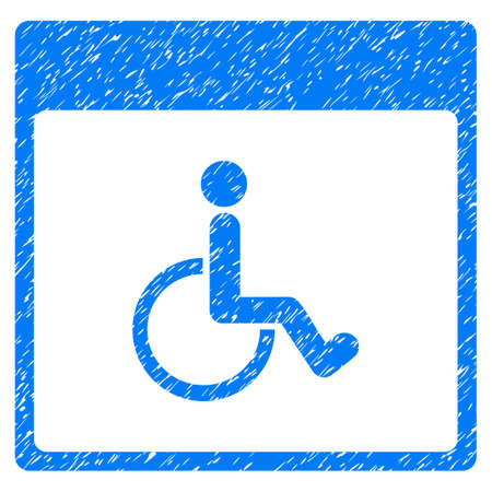 Handicapped Calendar Page grainy textured icon for overlay watermark stamps. Flat symbol with unclean texture. Dotted vector blue ink rubber seal stamp with grunge design on a white background.