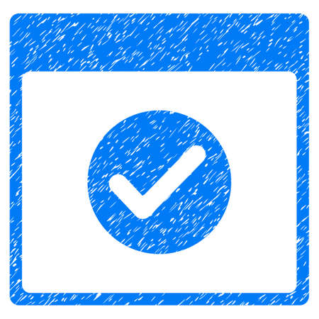 Ok Calendar Day grainy textured icon for overlay watermark stamps. Flat symbol with unclean texture. Dotted vector blue ink rubber seal stamp with grunge design on a white background.