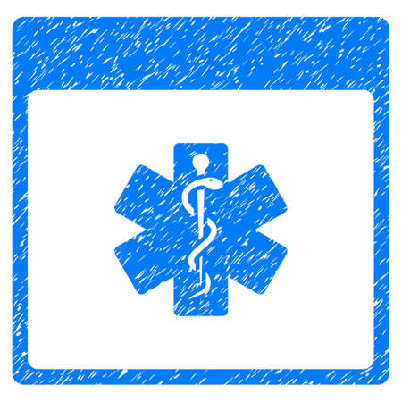 calender icon: Medical Life Star Calendar Page grainy textured icon for overlay watermark stamps. Flat symbol with unclean texture. Dotted vector blue ink rubber seal stamp with grunge design on a white background.