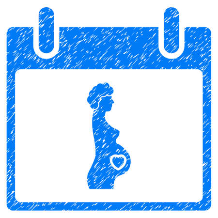 Pregnant Woman Calendar Day grainy textured icon for overlay watermark stamps. Flat symbol with scratched texture. Dotted vector blue ink rubber seal stamp with grunge design on a white background.