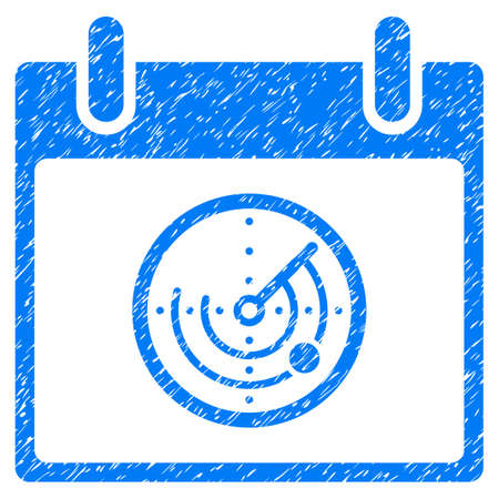 blip: Radar Calendar Day grainy textured icon for overlay watermark stamps. Flat symbol with scratched texture. Dotted vector blue ink rubber seal stamp with grunge design on a white background. Illustration