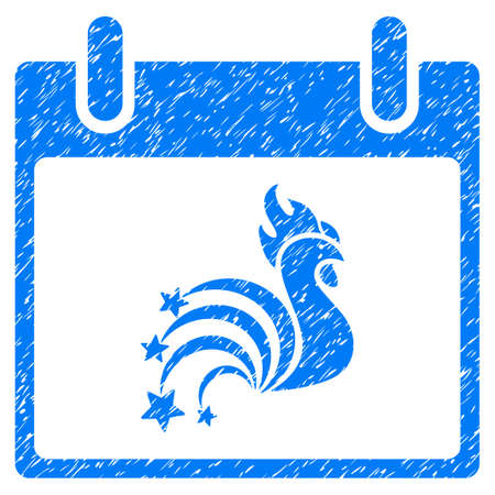 Rooster Fireworks Calendar Day grainy textured icon for overlay watermark stamps. Flat symbol with dirty texture. Dotted vector blue ink rubber seal stamp with grunge design on a white background. Illustration
