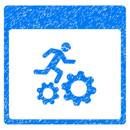 Running Worker Calendar Page grainy textured icon for overlay watermark stamps. Flat symbol with dust texture. Dotted vector blue ink rubber seal stamp with grunge design on a white background.
