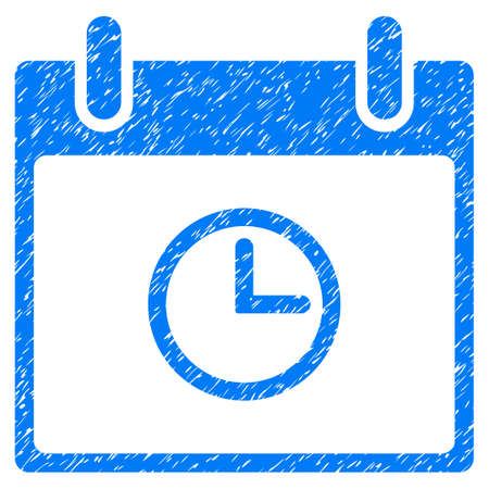 Time Calendar Day grainy textured icon for overlay watermark stamps. Flat symbol with dirty texture. Dotted vector blue ink rubber seal stamp with grunge design on a white background. Illustration