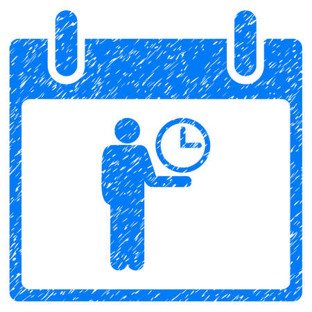 Time Manager Calendar Day grainy textured icon for overlay watermark stamps. Flat symbol with unclean texture. Dotted vector blue ink rubber seal stamp with grunge design on a white background. Illustration