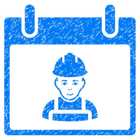 almanac: Worker Calendar Day grainy textured icon for overlay watermark stamps. Flat symbol with unclean texture. Dotted vector blue ink rubber seal stamp with grunge design on a white background. Illustration