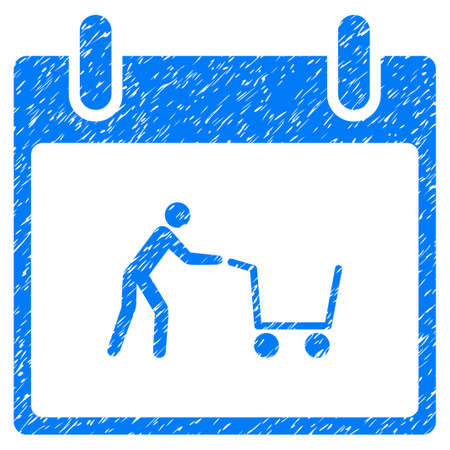 calender icon: Shopping Cart Calendar Day grainy textured icon for overlay watermark stamps. Flat symbol with scratched texture. Dotted vector blue ink rubber seal stamp with grunge design on a white background.