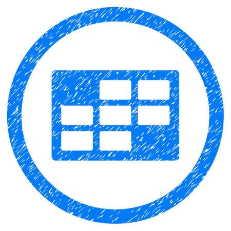 dataset: Rounded Calendar Table rubber seal stamp watermark. Icon symbol inside circle with grunge design and scratched texture. Unclean vector blue emblem.