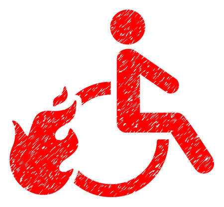 evacuate: Fired Disabled Person grainy textured icon for overlay watermark stamps. Flat symbol with scratched texture. Dotted vector red ink rubber seal stamp with grunge design on a white background. Illustration