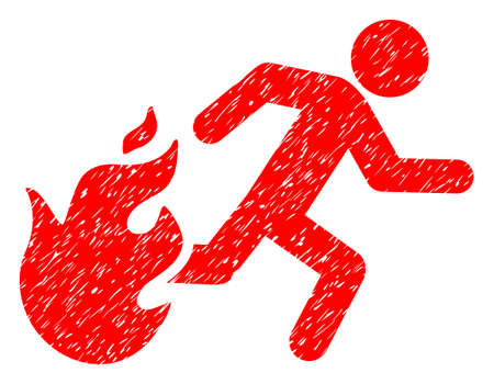 Fired Running Man grainy textured icon for overlay watermark stamps. Flat symbol with unclean texture. Dotted vector red ink rubber seal stamp with grunge design on a white background. Vector Illustration