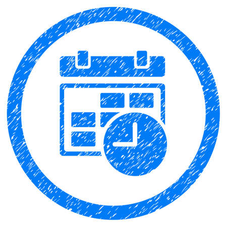Rounded Date And Time rubber seal stamp watermark. Icon symbol inside circle with grunge design and scratched texture. Unclean vector blue sign. Illustration