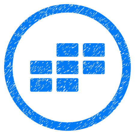 Rounded Calendar Grid rubber seal stamp watermark. Icon symbol inside circle with grunge design and unclean texture. Unclean vector blue sign.