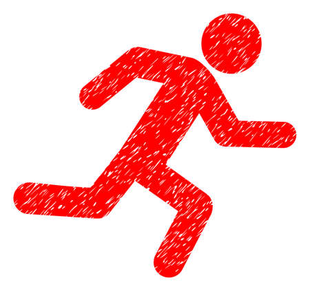 Running Man grainy textured icon for overlay watermark stamps. Flat symbol with dust texture. Dotted vector red ink rubber seal stamp with grunge design on a white background.