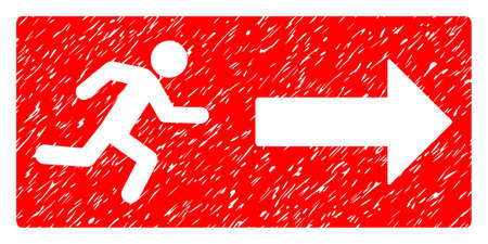 Emergency Exit grainy textured icon for overlay watermark stamps. Flat symbol with dirty texture. Dotted vector red ink rubber seal stamp with grunge design on a white background.