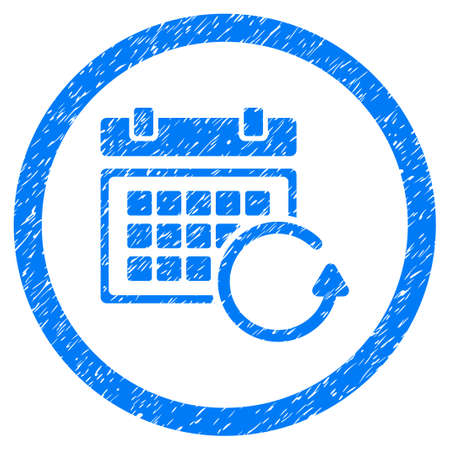 Rounded Update Calendar rubber seal stamp watermark. Icon symbol inside circle with grunge design and dust texture. Unclean vector blue sticker.