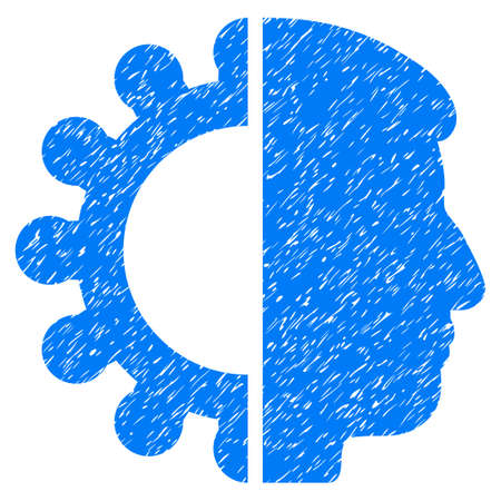 Android Head grainy textured icon for overlay watermark stamps. Flat symbol with scratched texture. Dotted vector blue ink rubber seal stamp with grunge design on a white background.