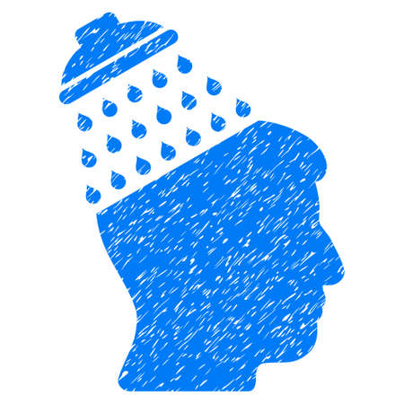 disinfection: Brain Shower grainy textured icon for overlay watermark stamps. Flat symbol with unclean texture. Dotted vector blue ink rubber seal stamp with grunge design on a white background.