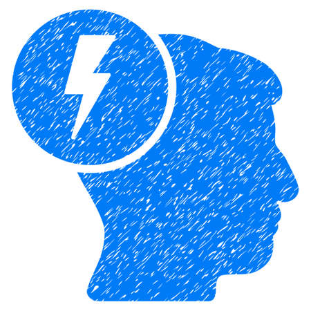 ruch: Brain Electricity grainy textured icon for overlay watermark stamps. Flat symbol with unclean texture. Dotted vector blue ink rubber seal stamp with grunge design on a white background.