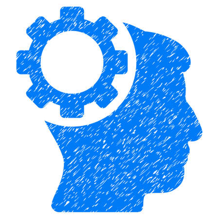 Brain Gear grainy textured icon for overlay watermark stamps. Flat symbol with scratched texture. Dotted vector blue ink rubber seal stamp with grunge design on a white background.