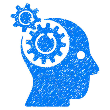 Brain Gears Rotation grainy textured icon for overlay watermark stamps. Flat symbol with unclean texture. Dotted vector blue ink rubber seal stamp with grunge design on a white background. Illustration