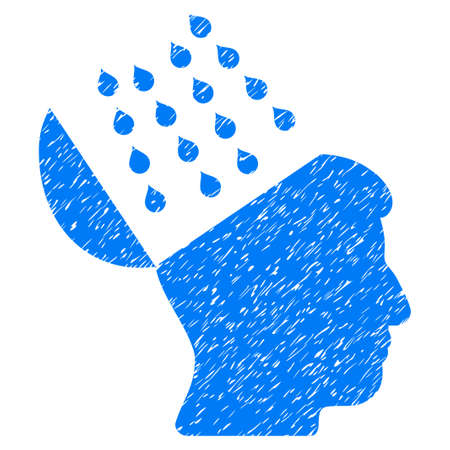 Brain Shower grainy textured icon for overlay watermark stamps. Flat symbol with scratched texture. Dotted vector blue ink rubber seal stamp with grunge design on a white background. Illustration