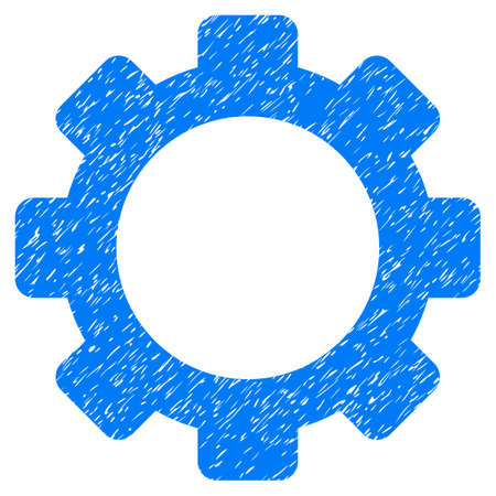 dientes sucios: Gear grainy textured icon for overlay watermark stamps. Flat symbol with unclean texture. Dotted vector blue ink rubber seal stamp with grunge design on a white background. Vectores
