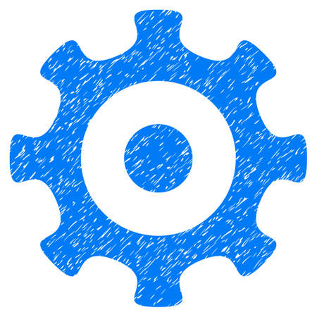 Gear grainy textured icon for overlay watermark stamps. Flat symbol with dust texture. Dotted vector blue ink rubber seal stamp with grunge design on a white background.